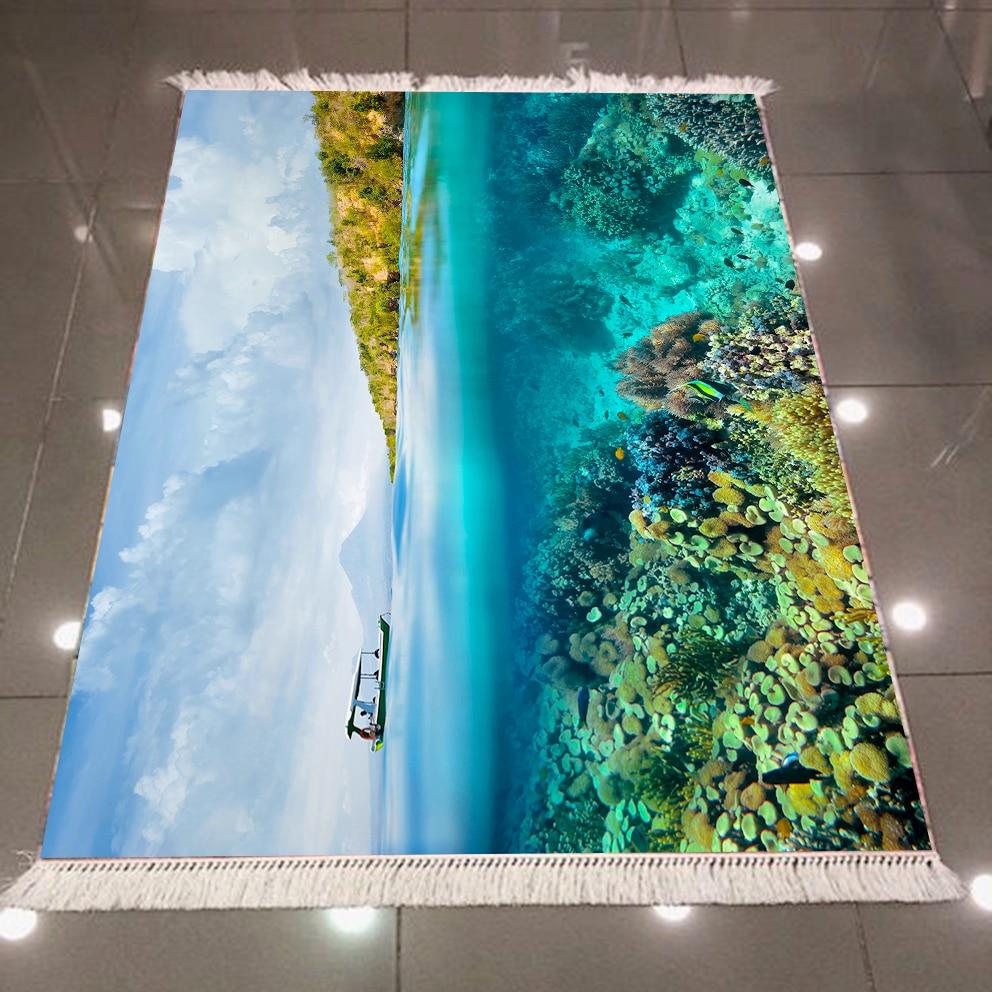 Else Blue Sky Green Forest Blue Sea Landscape Views 3d Print Microfiber Anti Slip Back Washable Decorative Kilim Area Rug Carpet