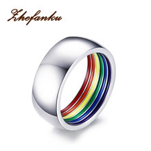 New Fashion Inside Rainbow Ring For Men Stainless Steel Wedding Ring 8MM Wide Pride Jewelry