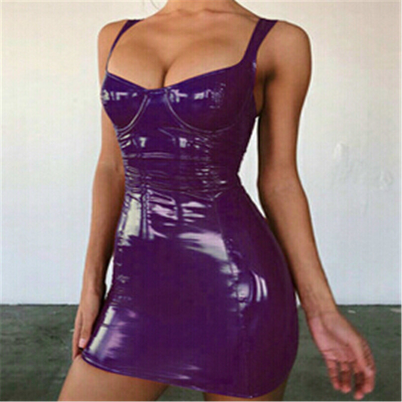2019 Sexy Backless Club Party Short Dress Solid Black Wet Look Latex Bodycon Faux Leather Push Up Bra Mini Micro Dress Leotard 8