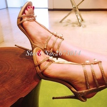 Women Sandals Gladiator New Summer Buckle Strap Thin Heels Shoes Pearl Decor Narrow Band Sexy Shoe Wedding