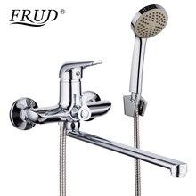 FRUD 1 набор 35 см цинковый сплав выпускная труба Ванна душевой кран хром с душевой насадкой ванная комната холодная и горячая вода смеситель кран R22102