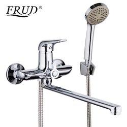 FRUD 1 набор 35 см цинковый сплав выпускная труба Ванна душевой кран хром с душевой насадкой ванная комната холодная и горячая вода смеситель к...