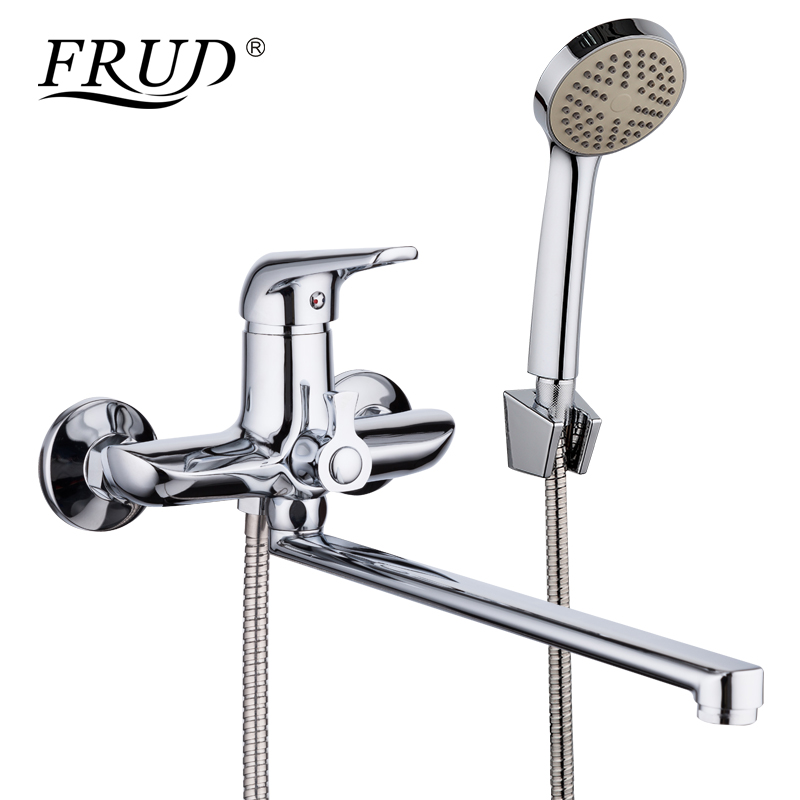 FRUD 1set 35cm Zinc Alloy Outlet Pipe Bathtub Shower Faucet Surface Chrome with Shower Head Bathroom Cold and Hot Tap R22102