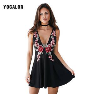 d600220d05386 YOCALOR 2018 Vintage Sexy Short Dress Woman Summer Sundress