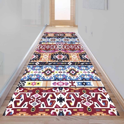 Else Claret Red Blue Turkish Ethnic Design 3d Print Non Slip Microfiber Washable Long Runner Mat Floor Mat Rugs Hallway Carpets