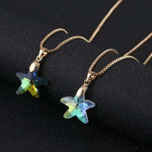 Crystal Glass Charm Starfish Pendant Necklace For Women Transparent Shining Color Star Jewlery GIft