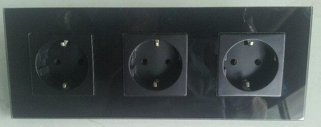 Free Shipping, BlackTempred Glass 3 way EU Power Socket,AC 110~270V ...
