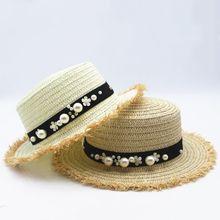 Seioum Venta Caliente + superior Plana sombrero de paja de Primavera y  Verano de las mujeres tapas de ocio de viaje perla playa . 34b9c948647
