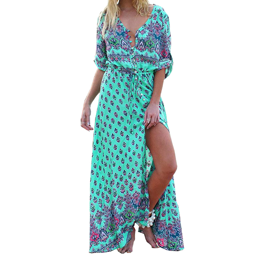 Latest Unique Beautiful Excellent Individual New V-neck Print Vintage Long Beach Dress Lovely