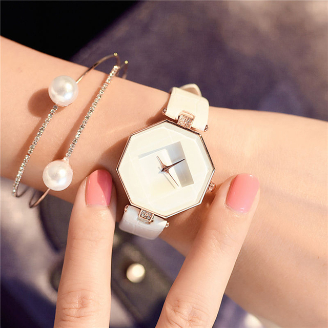 2018 SANWOOD Brand Ladies Watches Fashion White Leather Band Analog Quartz Rhomb