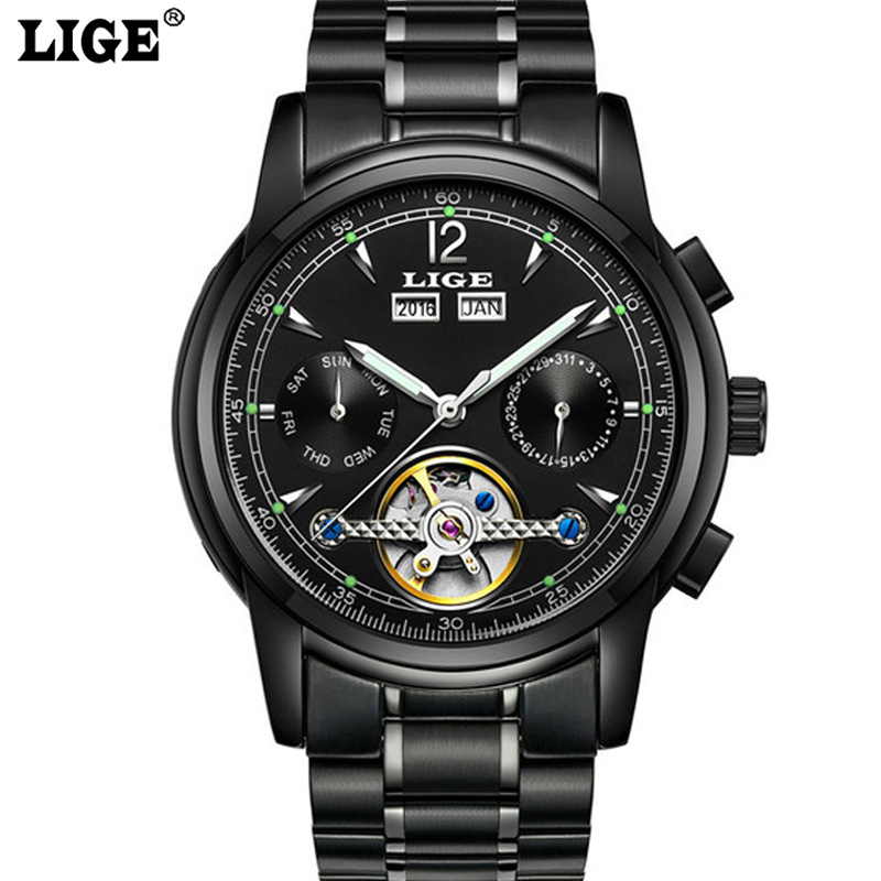 Men Skeleton business Watch Men Automatic mechanical Watches Relojes Hombre LIGE Luxury Brand Clock Relogio Masculino