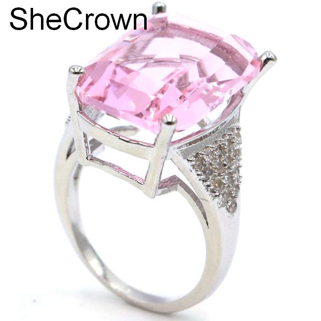 SheCrown 18x13mm Rectangle Pink Kunzite White CZ Gift For Girls Silver Rings 20x18mm(China)