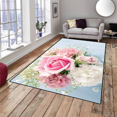 Else Blue Floor Pink Rose Floral Flower 3d Pattern Print Non Slip Microfiber Living Room Decorative Modern Washable Area Rug Mat