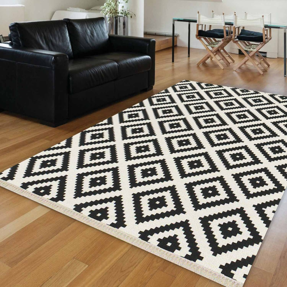 Else Nordic Black White Scandinavian Geometrics 3d Print Anti Slip Washable Decorative Floor Rug Living Room Bohemian Carpet Mat
