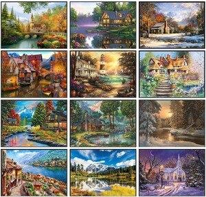 Image 1 - Nakış Sayılan Çapraz dikiş kitleri İğne El Sanatları 14 ct DMC Renk DIY Sanat El Yapımı Dekor Manzara 258x182