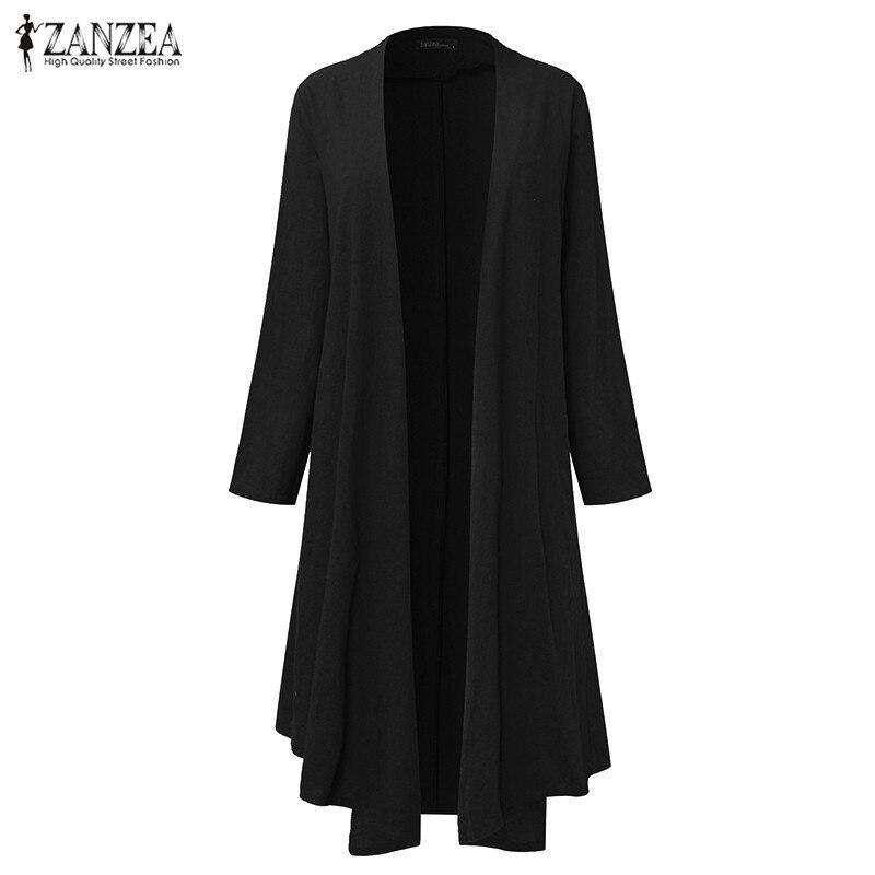 2018 ZANZEA Women Elegant OL Long Sleeve Casual Cotton Long Cardigan Autumn Solid Tops Linen Black Coat Jacket Outwear Plus Size