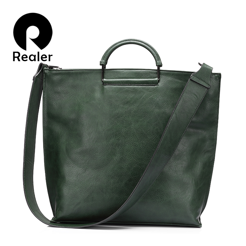 REALER brand women handbag casual large tote bag female high quality artificial leather wide shoulder strap messenger bag clutch high quality authentic famous polo golf double clothing bag men travel golf shoes bag custom handbag large capacity45 26 34 cm
