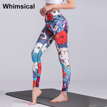 WhimsicalWomen Yoga Leggings Flower Printed Workout Running Tights Trousers Elastic Gym Fitness Training Tracksuit For Women