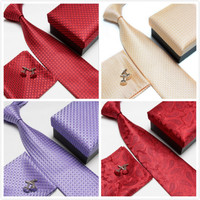 GOBETTIES Mens Tie Silk Geometric Jacquard Woven Classic Tie Hanky Cufflinks Set With Box For Formal