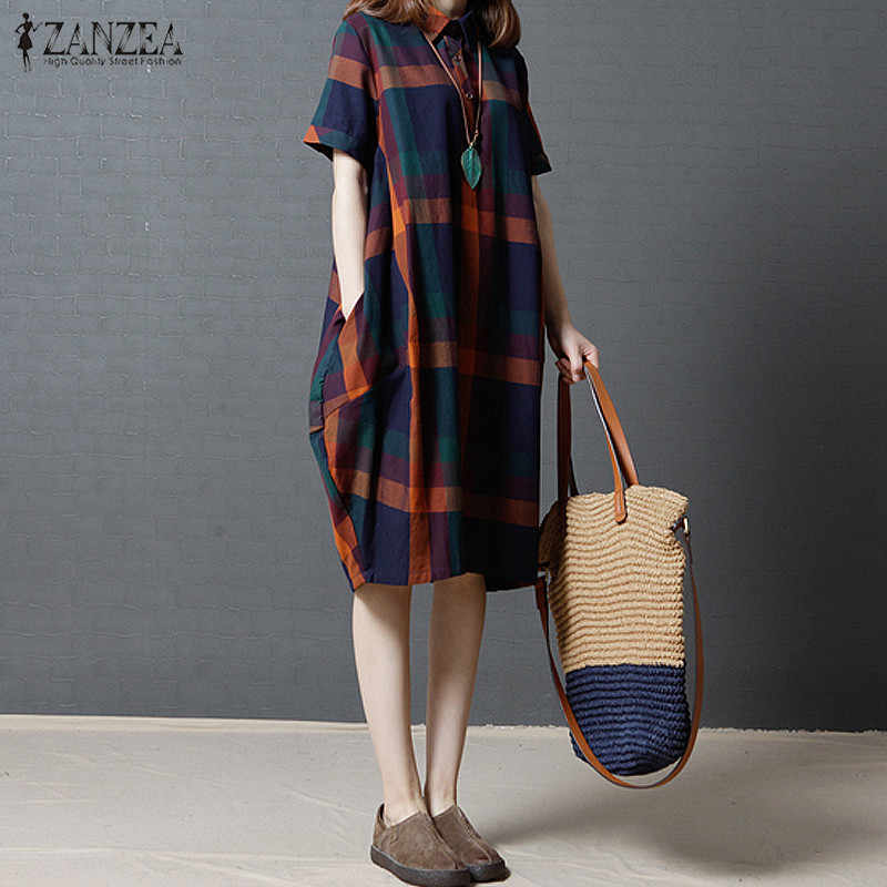 390356a906 2017 ZANZEA Women Vintage Turn-down Collar Pockets Plaid Cotton Linen Midi  Dress Casual Loose