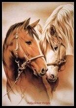 Набор для вышивки счетным крестом, рукоделие, 14 ct, DMC, цвет, сделай сам, искусство, декор ручной работы, «лошади в любви»