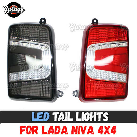 For Lada Niva 4X4 1995 LED tail lights with running turn signal PMMA ABS plastic function