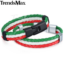 Trendsmax Italy Flag Leather Bracelet Mens Rope Surf Handmade Braided Wristband Friendship Wholesale Dropship Womens LB141