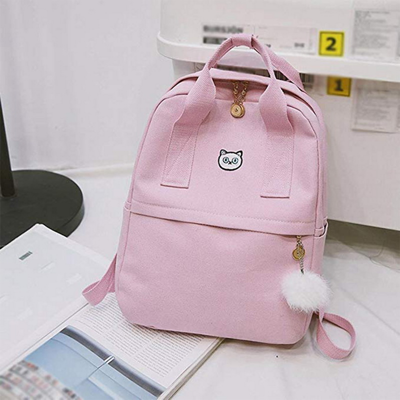 WENYUJH Women Backpack For School Teenagers Girls Kawaii Bag 2018 Bookbag Canvas Backpack Female Backbag Rucksack with Fur Ball big toe sandal