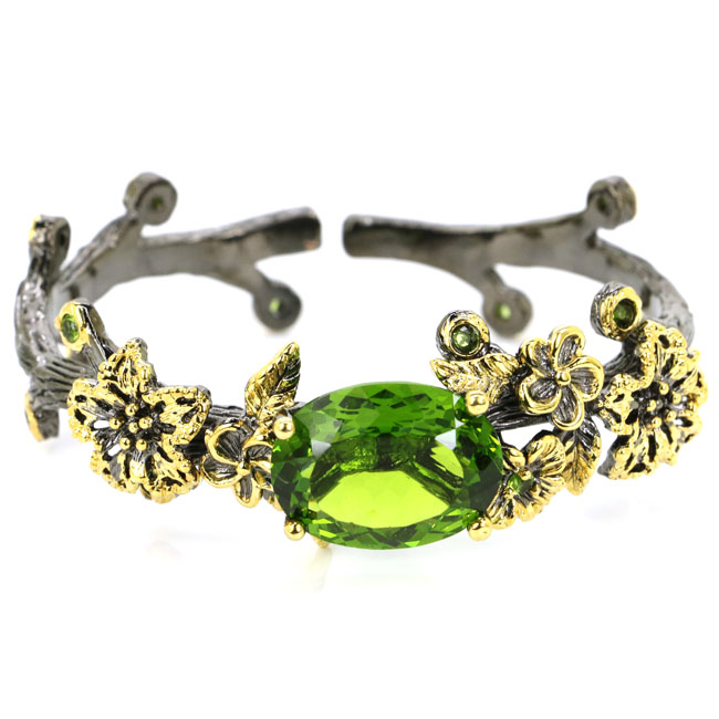 Sublime Antique 34.3g Vintage Green Peridot Flowers Shape Silver Bangle Bracelet 7.5 58x20mm