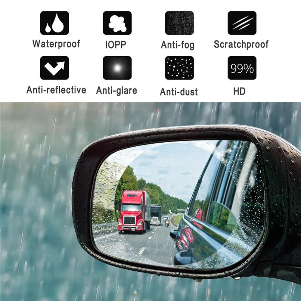 1 Pair Ovale/rotondo/rettangolo Auto Retrovisore Specchio Autoadesivo Di Protezione Anti-fog Membrana Impermeabile Antipioggia Auto Finestra Pellicola Superficie Lucente
