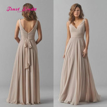 Chiffon Wedding Party Dress Straps V Neckline Floor Length Custom Red  Bridesmaid Dress Vestidos Damas De Honor Adultos c25448073d12