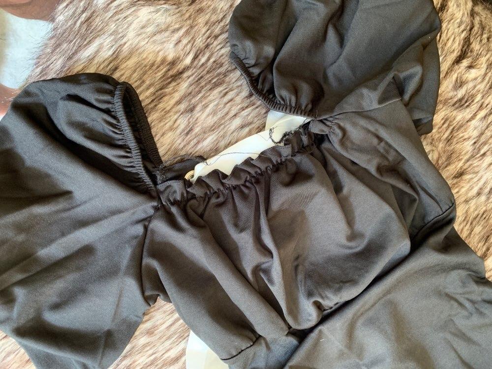 Black Puff Sleeve Boho Bandage Bodysuit Women Le Palais Vintage Body Mujer Elegante Back Lace Up Sexy Bodysuits Summer photo review