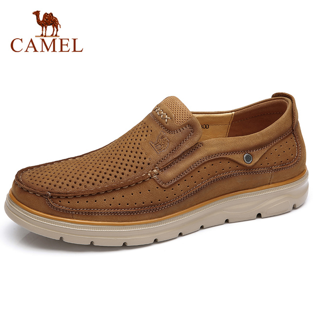 CAMEL Men's Shoes Genuine Leather Shoes Men Breathable Lightweight England Cow Leather Casual Shoes Men Flats Male Footwear