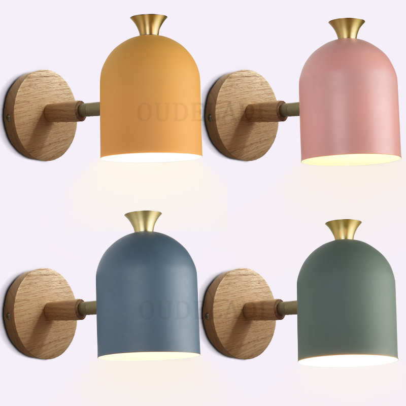 Modern Macaron Wall LED Lamp Blue Green Yellow Pink Adjustable Wall Light for Kitchen Bedside Living Room Study Decor E27