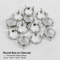 New Fashion Round With Hollow back KSilver Metal Empty Claw Sew on Rhinestones Claw setting with For DIY Fancy stones 4 size