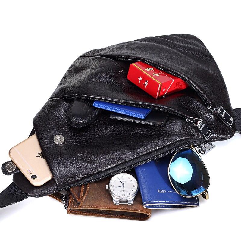 MISFITS nouveau en cuir véritable hommes poitrine sac mode sac à bandoulière hommes Messenger sacs en cuir de vache voyage Pack pour homme sac à bandoulière - 4