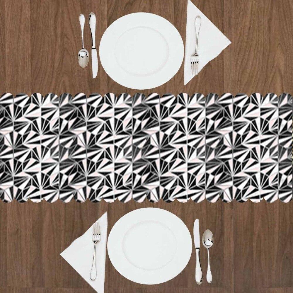 Else Black Pink Triangles Geometric Damask Vintage 3d Print Pattern Modern Table Runner For Kitchen Dining Room Tablecloth