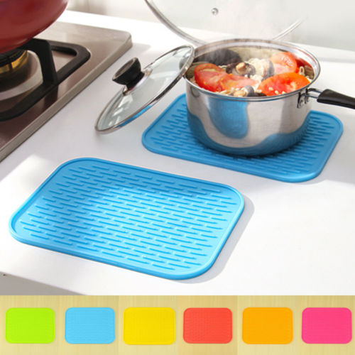 Hot Silicone Rectangular Heat Insulation Mat Placemat Pad Dishes Pot Holder Kitchen Tool
