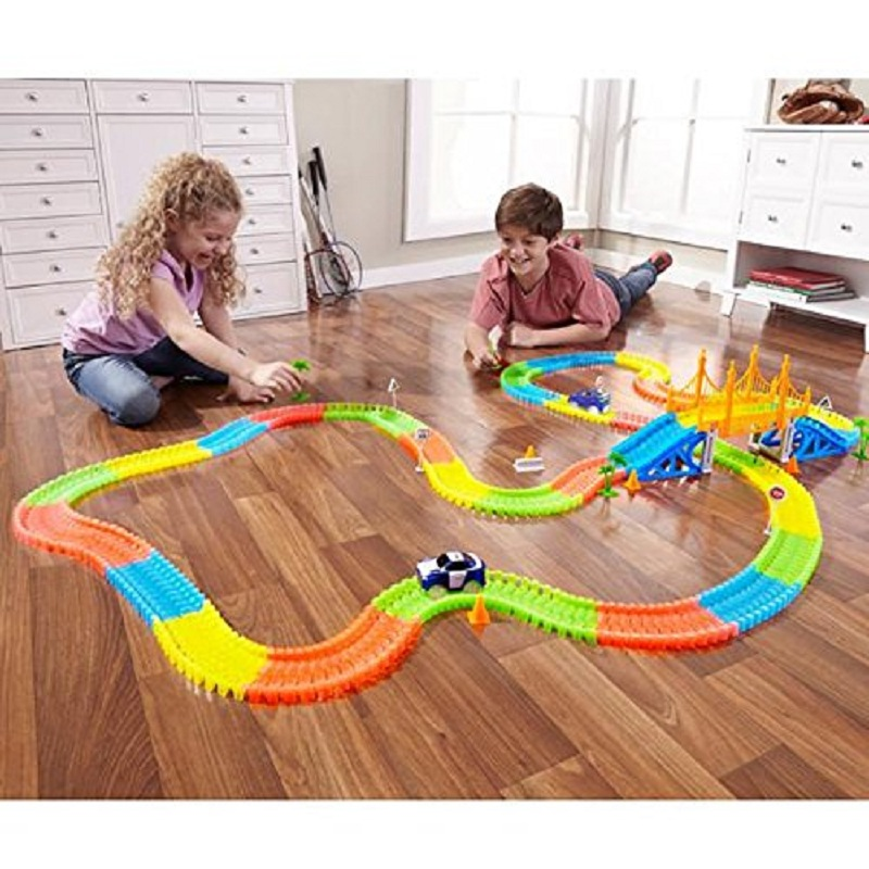 165/220/360pcs  Miraculous  Race Track Bend Flex In The Dark Assembly Car Toy Glow Racing Track Box Set