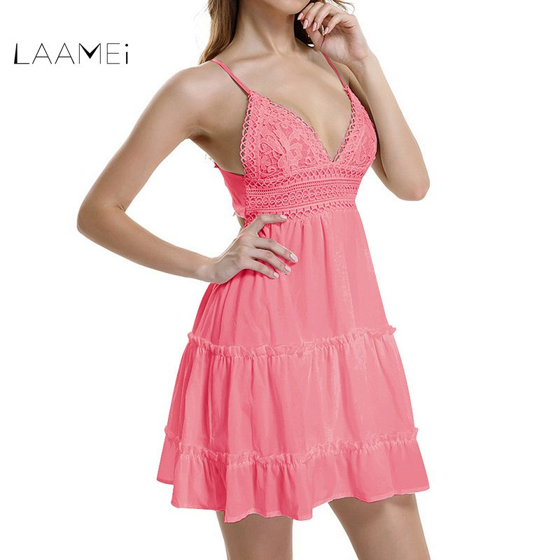 Laamei Sommer Frauen Spitze Kleid Sexy Backless V-ausschnitt Strand Kleider Mode Ärmellose Spaghetti Bügel Weiß Casual Mini Sommerkleid