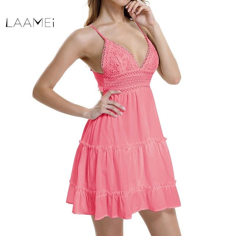 Laamei de verano las mujeres vestido de encaje Sexy sin espalda de cuello en V vestidos sin mangas de moda correa de espagueti blanco Casual Mini vestido