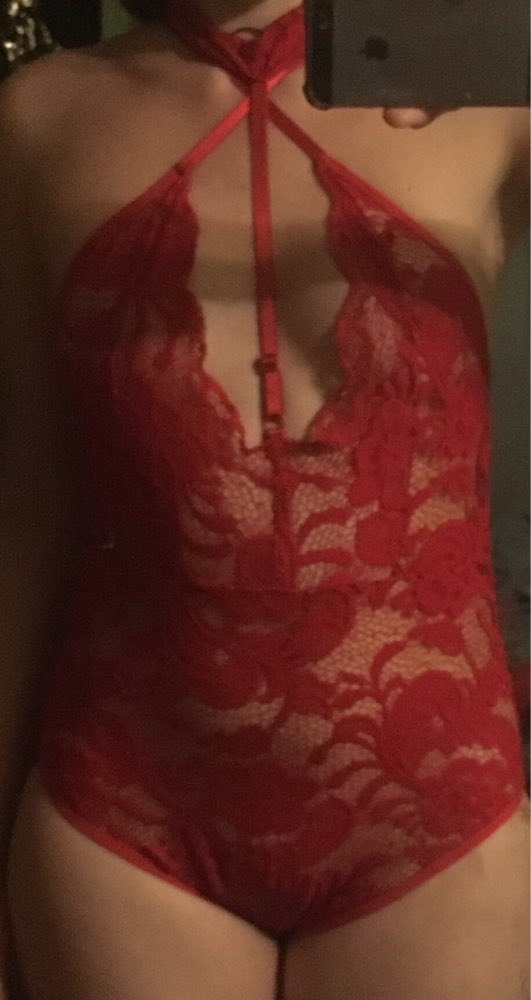 SEBOWEL 2019 Elegant Floral Red Lace Bodysuit Women Backless Deep V Neck Sexy Bodysuit Bodycon Halter Sleeveless Jumpsuit Romper