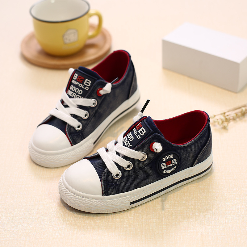 New 2017 high quality Denim cool kids shoes unisex lace up canvas Jean children casual shoes Cow Muscle baby girls boy shoes