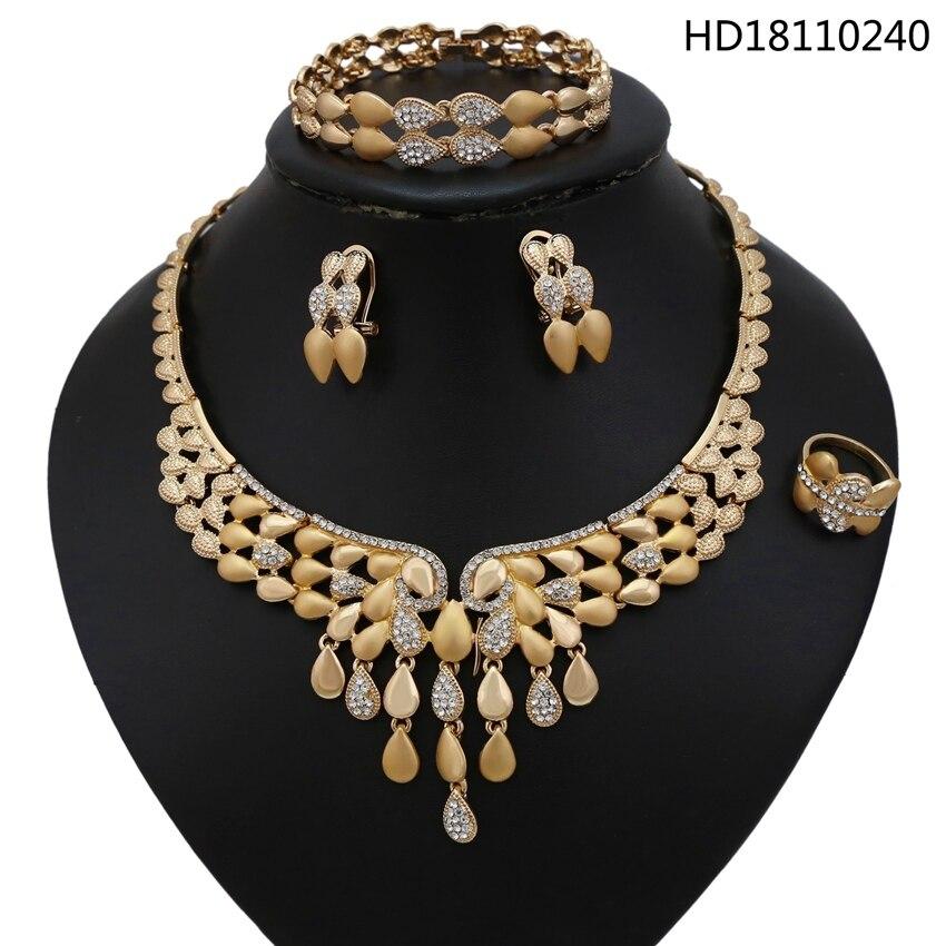 YULAILI livraison gratuite grand collier couleur or perles africaines nigérian bijoux de fête de mariage sertie de strass