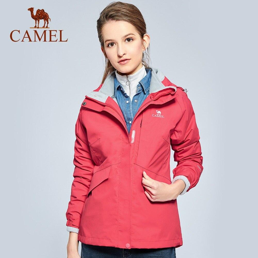 CAMEL Women 3 in 1 Outdoor Hiking Jacket Waterproof Warm Windbreaker Camping Trekking Skiing Coat