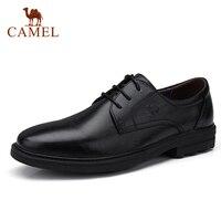 CAMEL Men's Business Dress Shoes Genuine Leather Office/Party/Wedding shoes men Soft oil wax leather Men Derby Shoes
