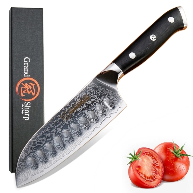 سكين مطبخ من Santoku مقاس 5 بوصة vg10 بتصميم دمشقي من الفولاذ الياباني مكون من 67 طبقتين من الكربون الصلب الذي لا يصدأ أدوات طبخ الشيف الحادة