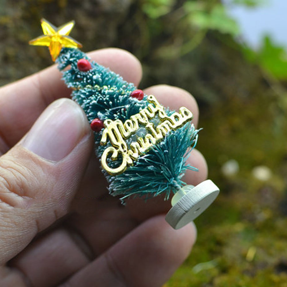Mini Artificial <font><b>Christmas</b></font> Tree Party Ornaments Figurines Miniatures DIY Home Decorations Crafts Gift Small Pine Trees 3*6.5cm image