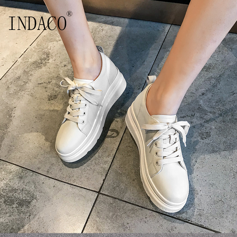2019 Leather White Sneakers Women Flat Casual Sneakers Women Canvas Shoes 6.5cm Сникеры