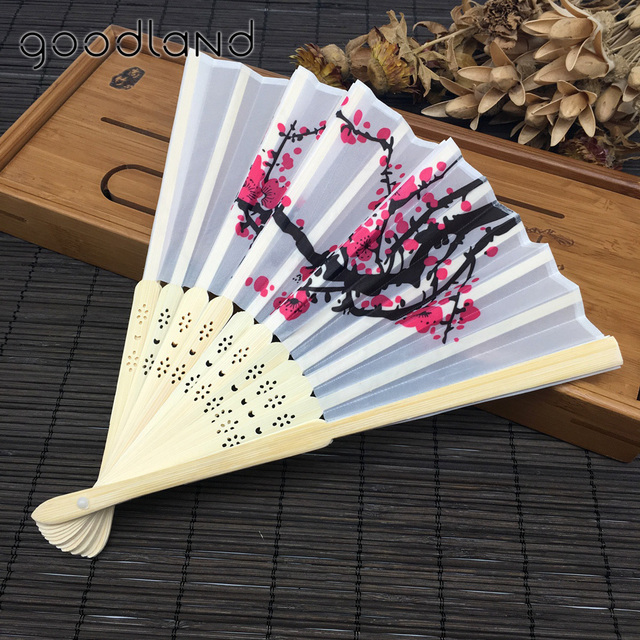 Us 24 79 Free Shipping 10pcs White Polyester Fans Elegant Plum Blossom Flower Print Folding Hand Wedding Invitation In Party Favors From Home